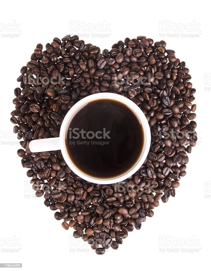 Heart of the coffee beans royalty-free stock photo