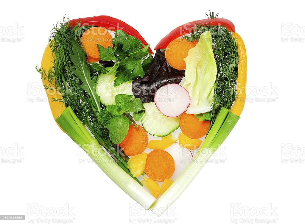 Heart of vegetables stock photo