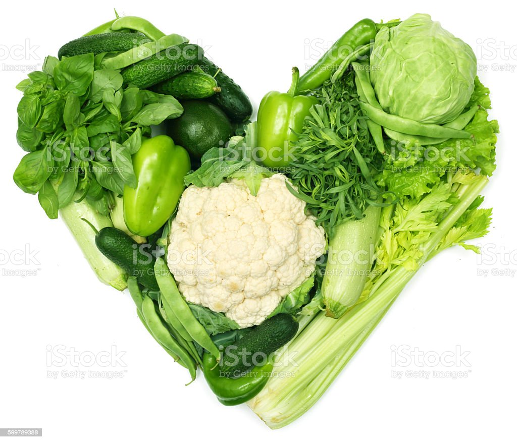 Heart of vegetables stock photo