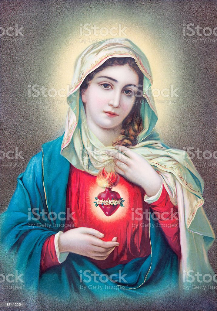 Heart of Virgin Mary - typically catholic image stock photo