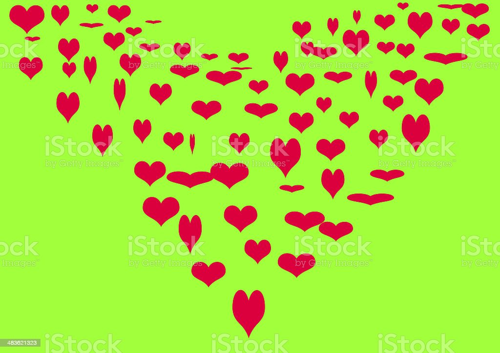 Heart on a green background. royalty-free stock photo