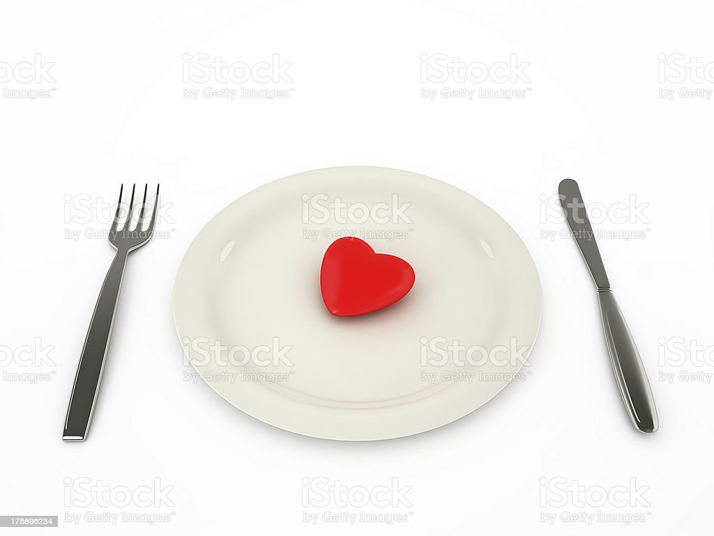 Heart on a plate, isolated stock photo