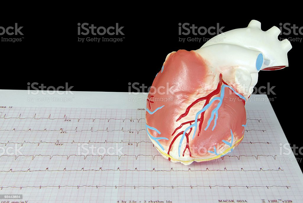 Heart on an Electrocardiogram royalty-free stock photo