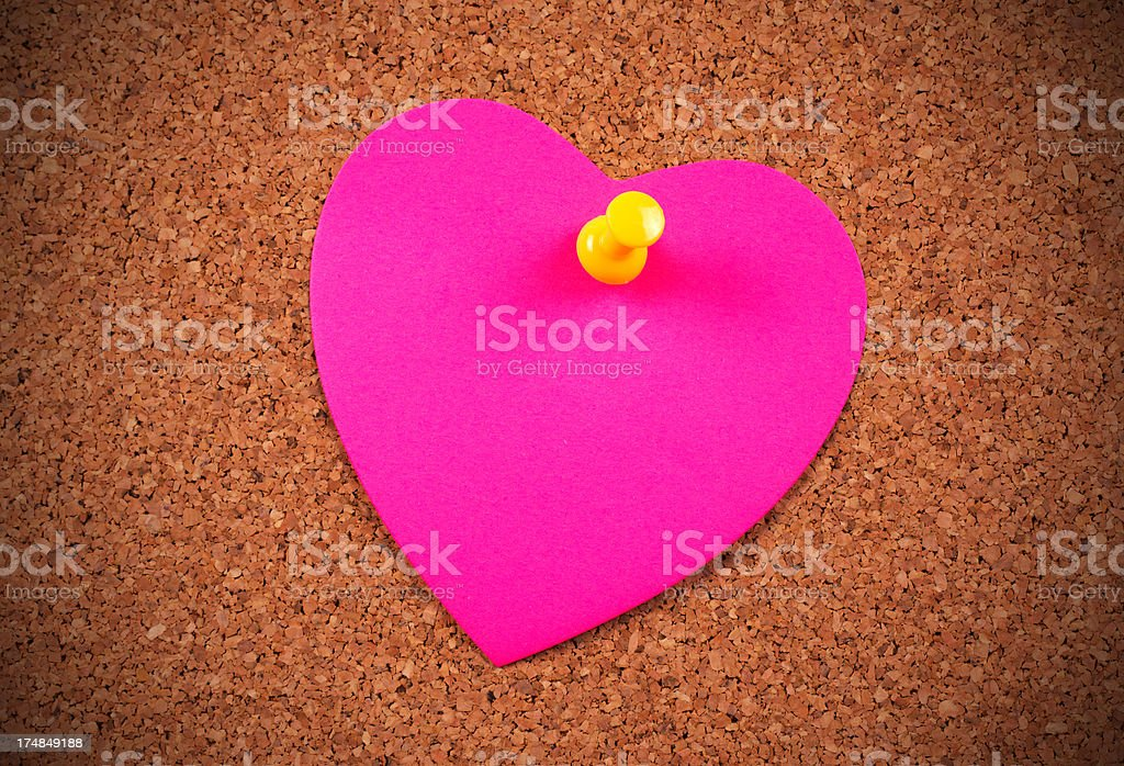 Heart on corkboard royalty-free stock photo