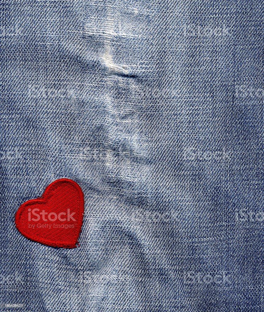 heart on denim royalty-free stock photo