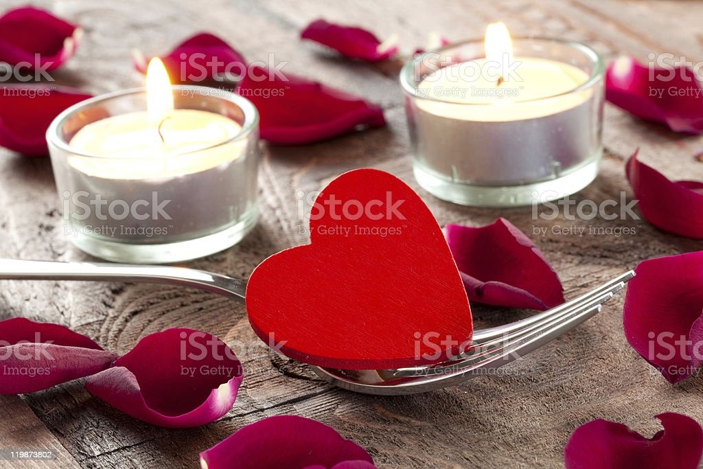 heart on fork royalty-free stock photo