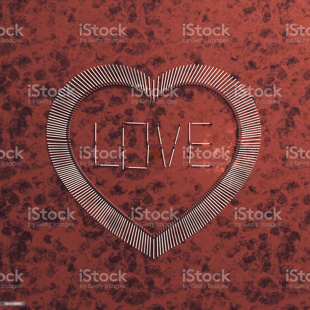Heart on love fire royalty-free stock photo