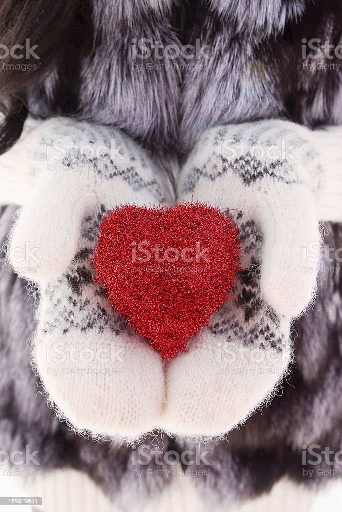 heart on mittens stock photo