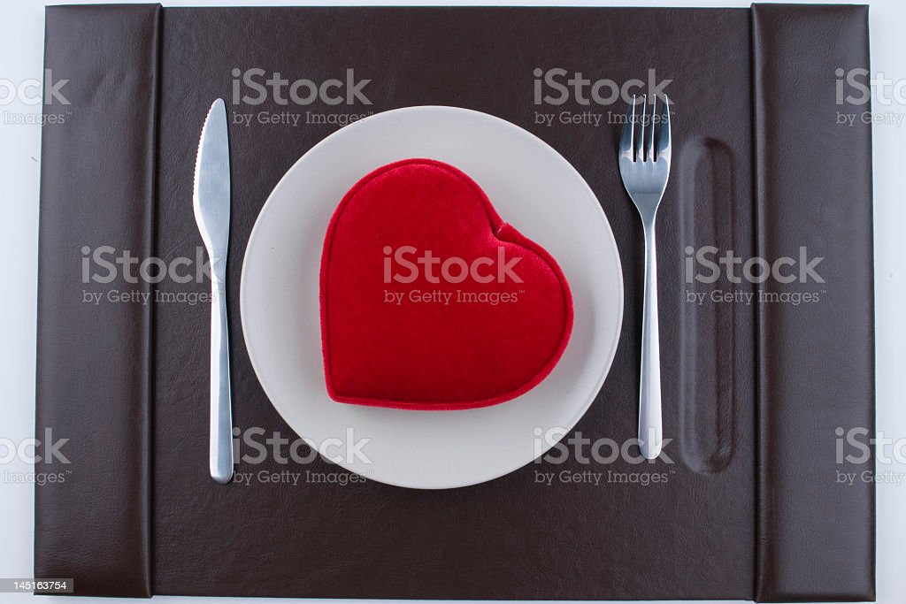 Heart on Plate for Valentine's Day royalty-free stock photo
