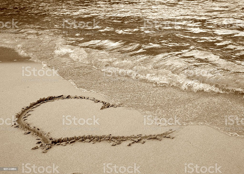 Heart on the beach royalty-free stock photo
