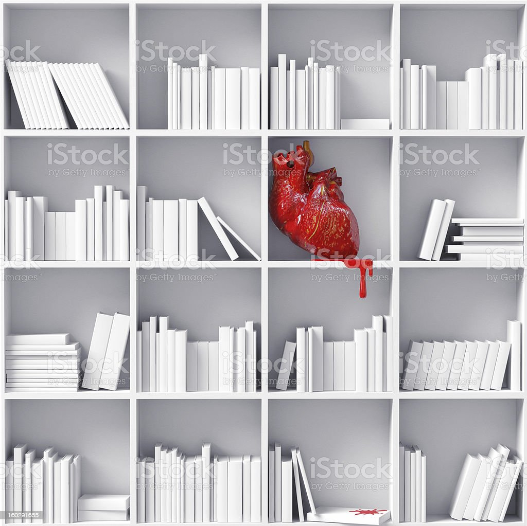 heart on the bookshelves royalty-free stock photo