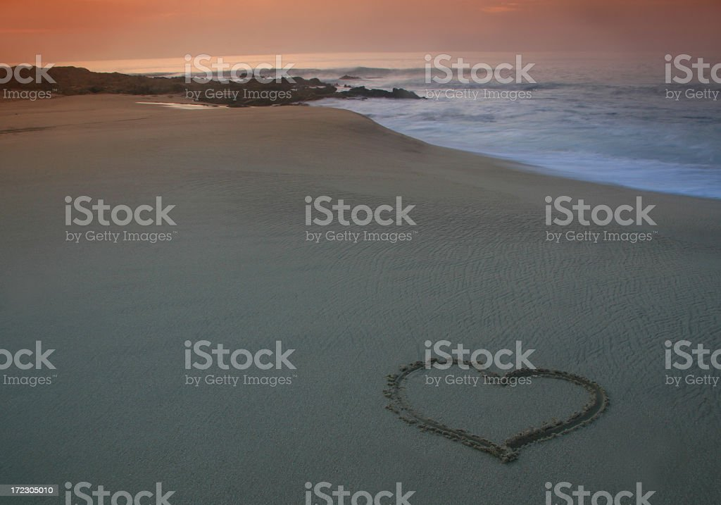 Heart on the Sand with Tropical Beach. royalty-free stock photo