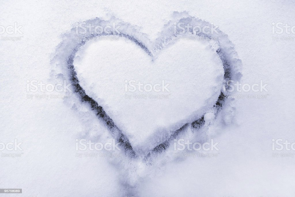 Heart on the snow. royalty-free stock photo