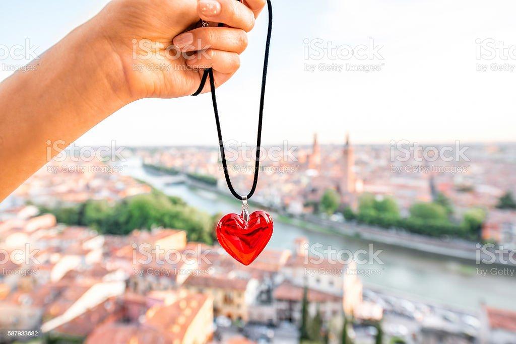 Heart on the Verona cityscape background stock photo