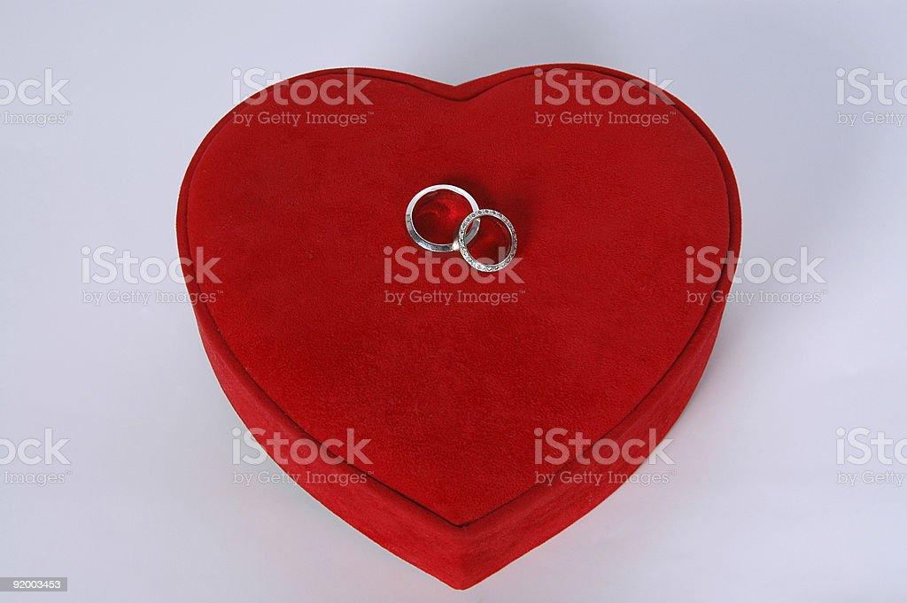 Heart on Wedding Rings royalty-free stock photo