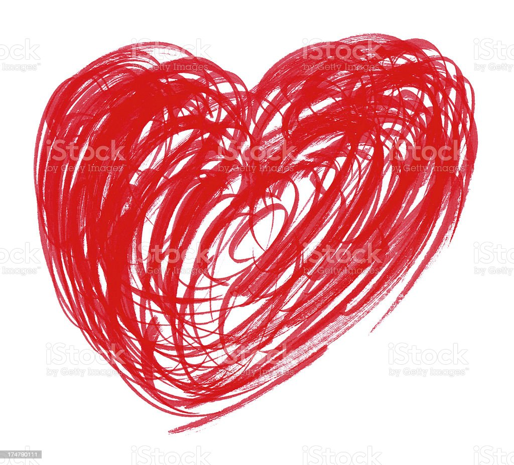 Heart painting with brush stroke stock photo