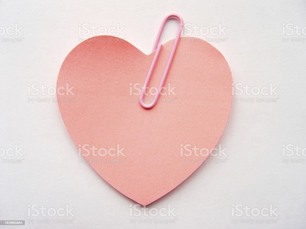 Heart Paper Note Sticker stock photo