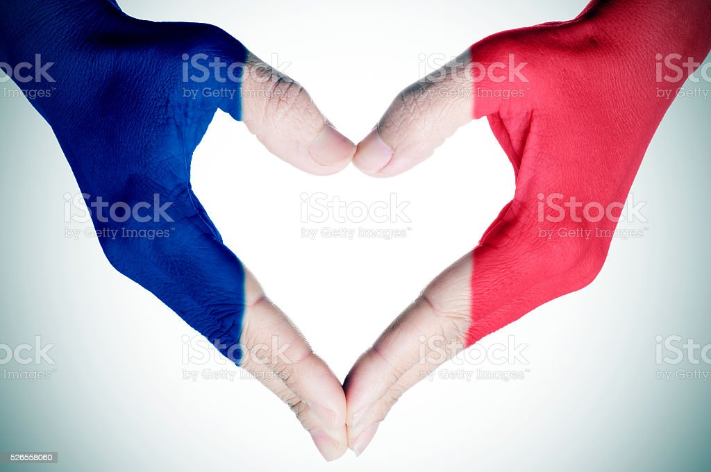 heart patterned with the flag of France stock photo
