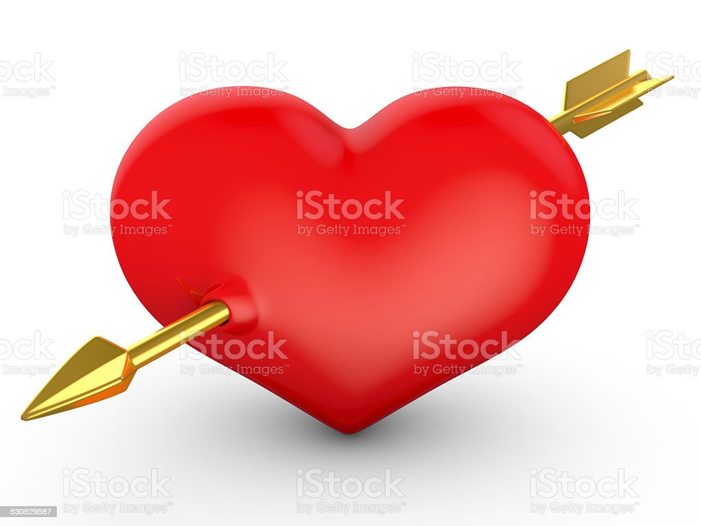 Heart pierced by an arrow. royalty-free stock photo