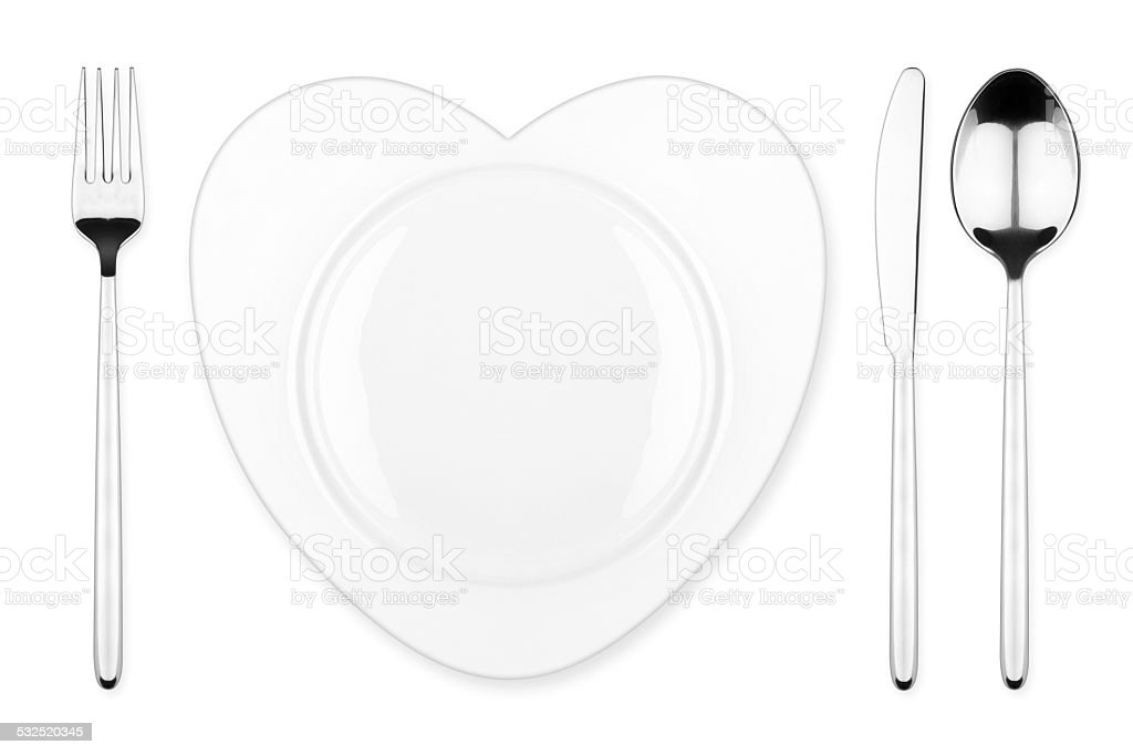 heart place setting stock photo