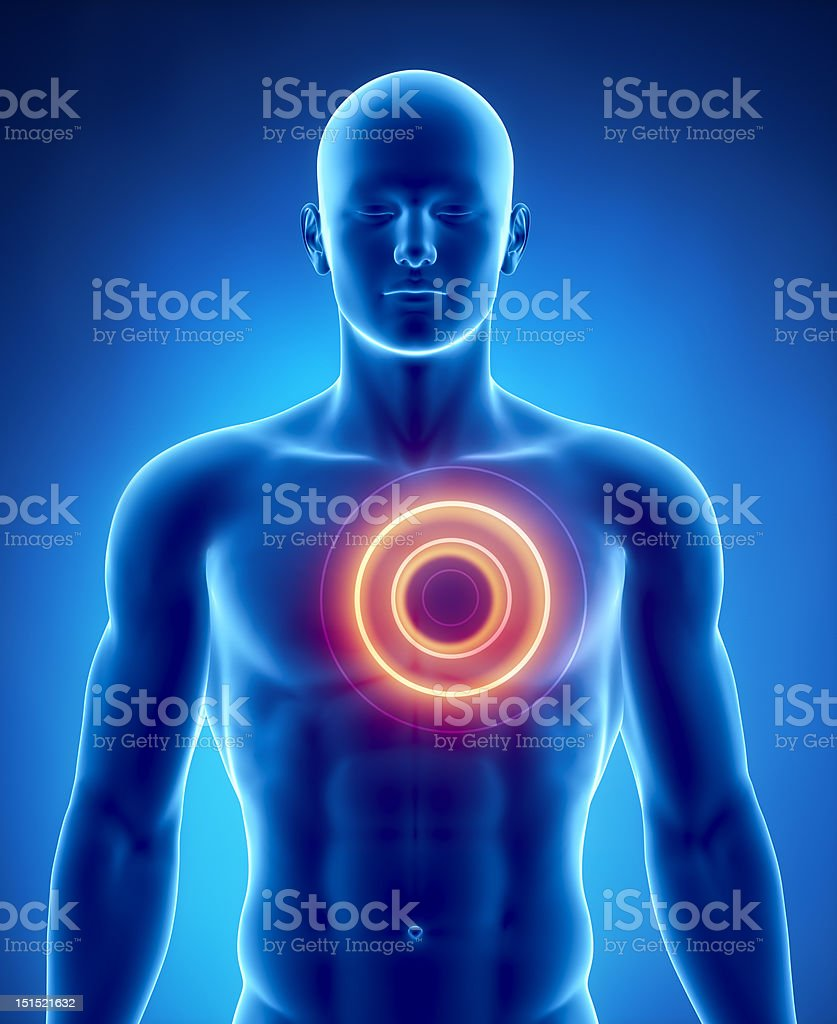 Heart problem concept with glowing circle vector art illustration