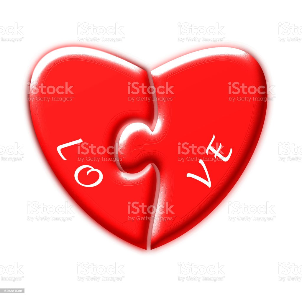 Heart puzzle and the word love stock photo