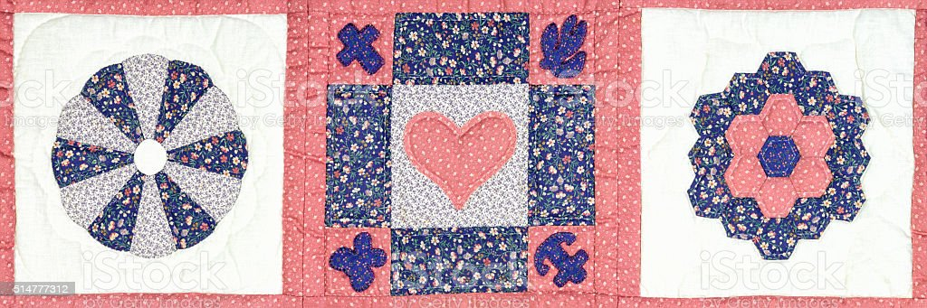 Heart Quilt Block Pattern, Traditional American Needlecraft, Country Style stock photo