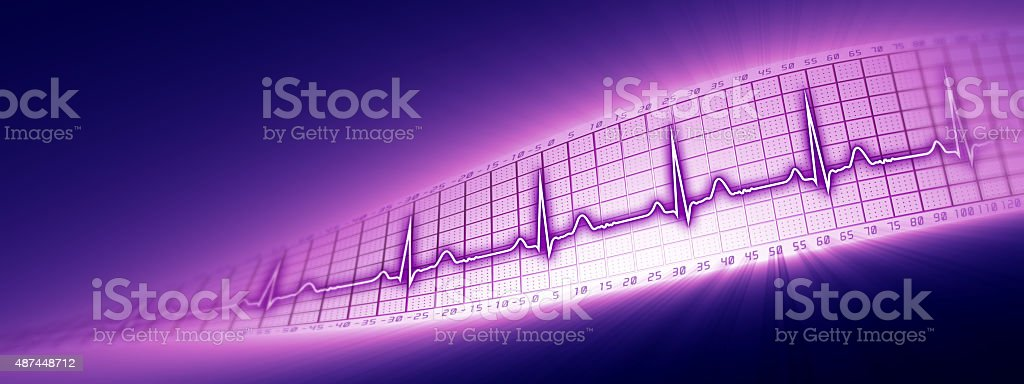 Heart rate with ECG graph in the cyberspace stock photo