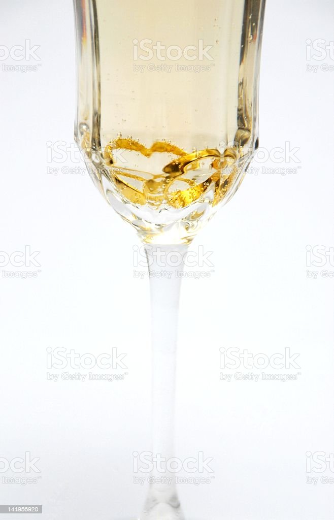 Heart Rings in Champagne Glass stock photo