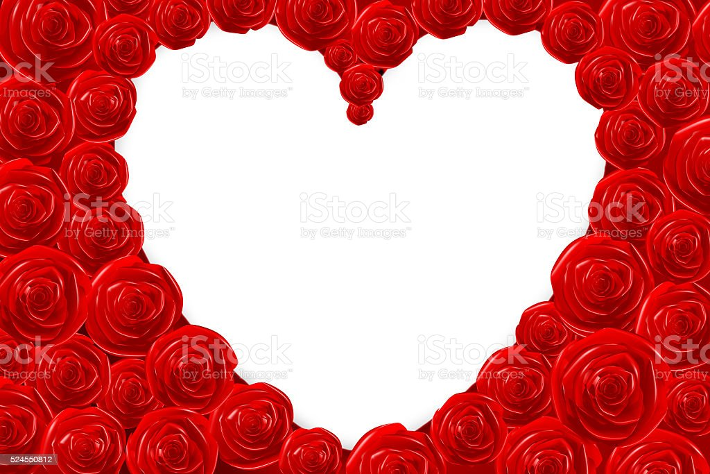 3D heart/ roses shape stock photo