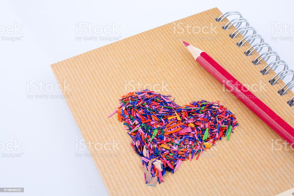 heart shape and color pencil stock photo