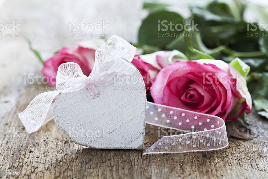 heart shape and roses royalty-free stock photo
