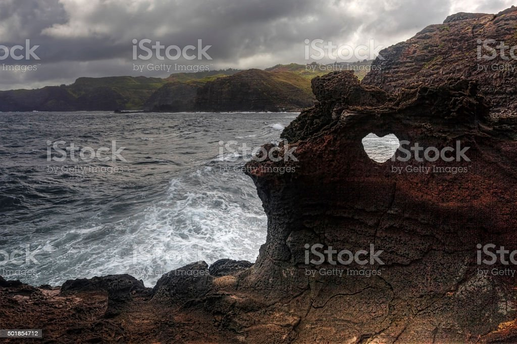 Heart shape at Nakalele in Hawaii stock photo