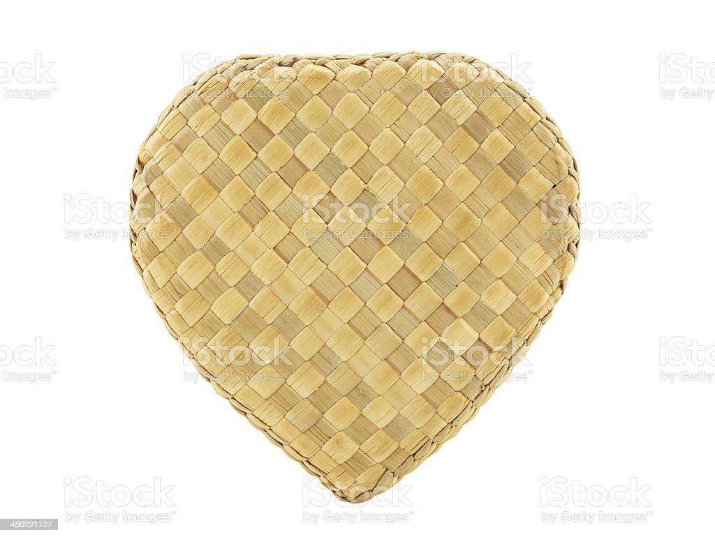 Heart shape bamboo wave on white background stock photo