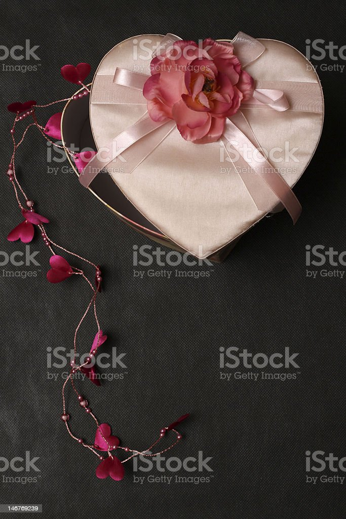 Heart Shape Box On Black royalty-free stock photo