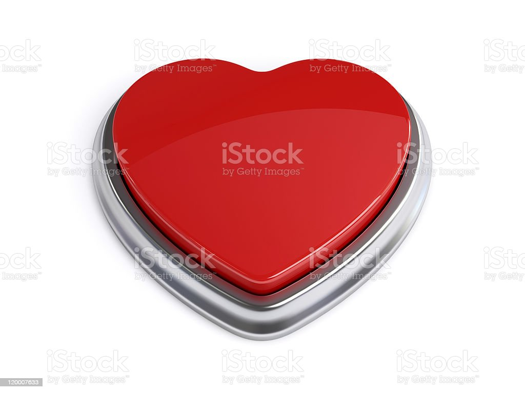 Heart Shape Button Red stock photo