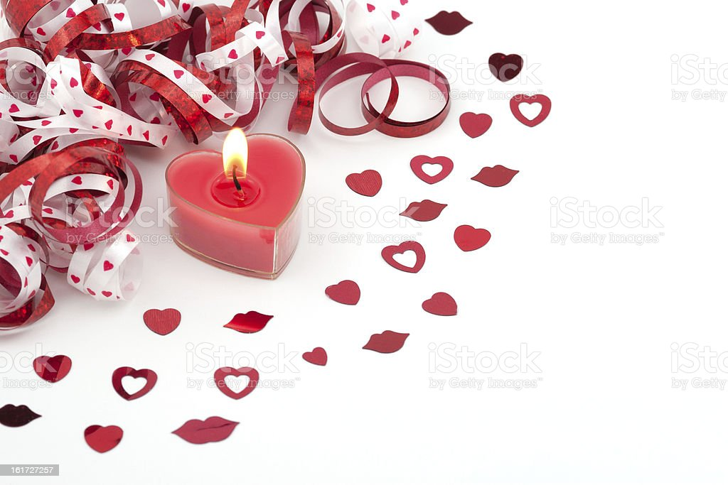 Heart shape candle, confetti and ribbon royalty-free stock photo