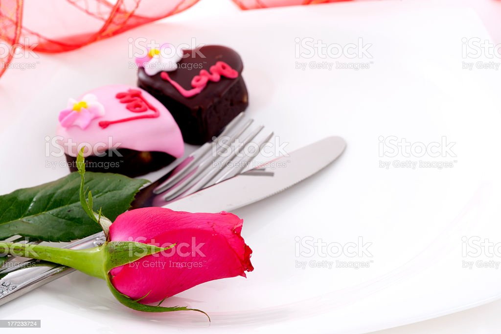 Heart Shape Chocolate with rose royalty-free stock photo