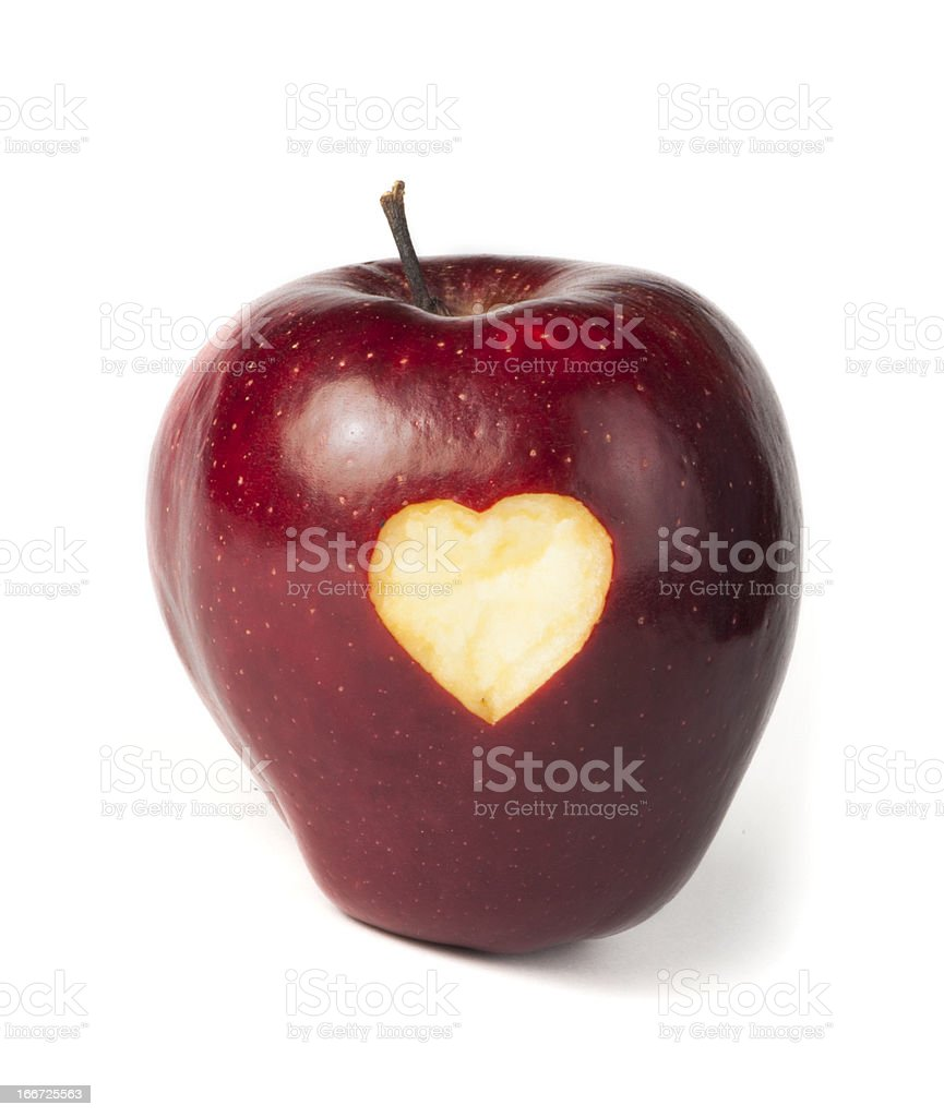 Heart shape closeup carved in apple royalty-free stock photo
