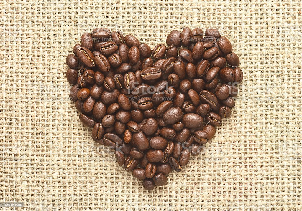 heart shape coffee beans on sacking royalty-free stock photo