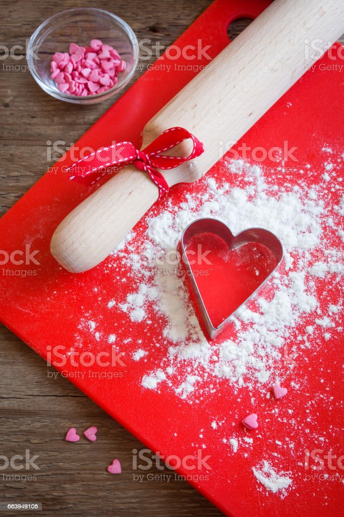 Heart shape cookie cutter stock photo