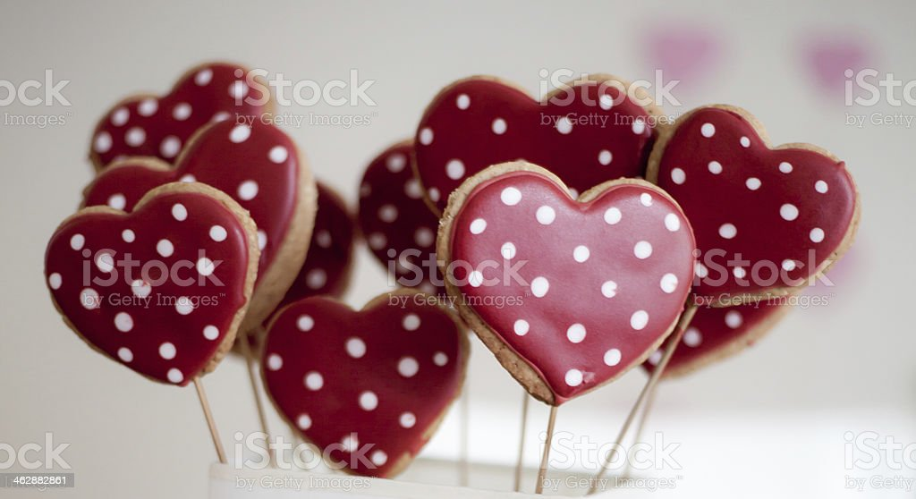 Heart Shape Cookies for Valentine's Day stock photo