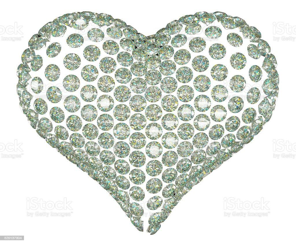 Heart shape diamond or gemstone set isolated stock photo