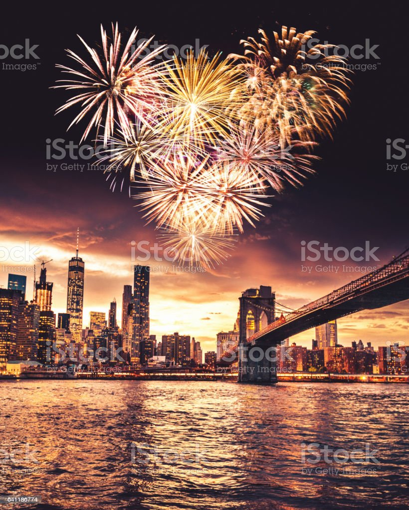 heart shape fireworks in new york stock photo