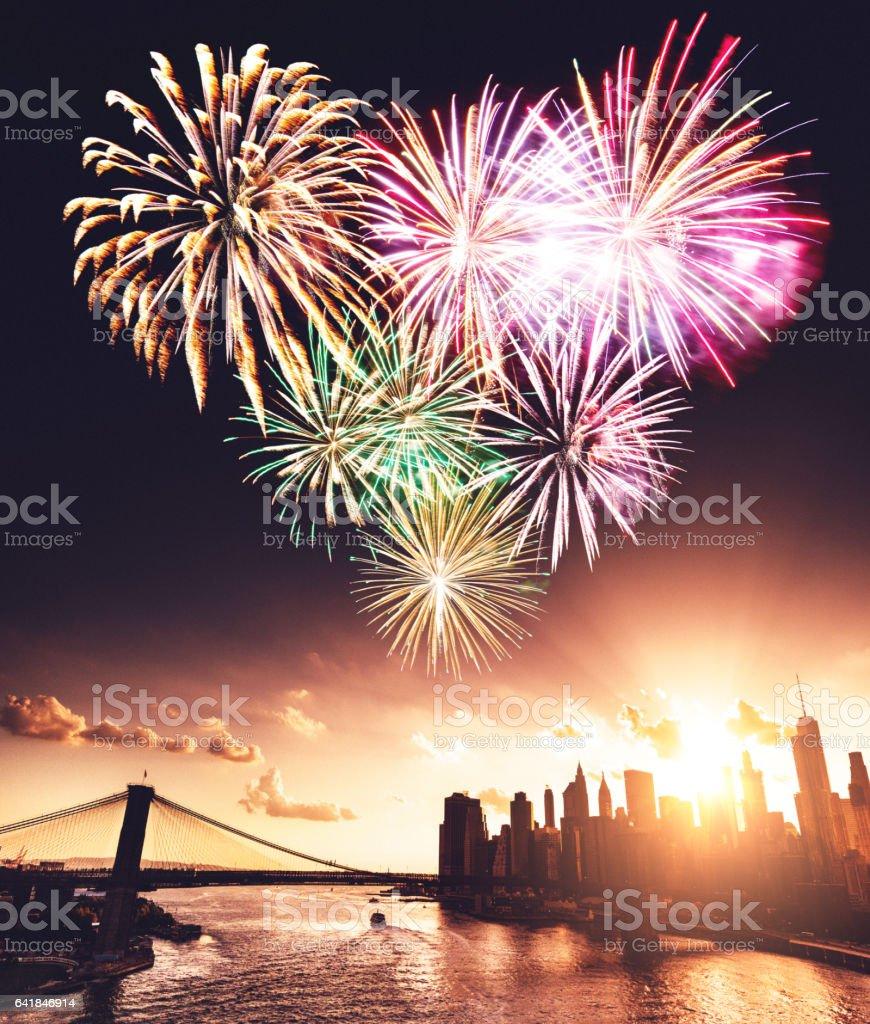 heart shape fireworks in new york stock photo