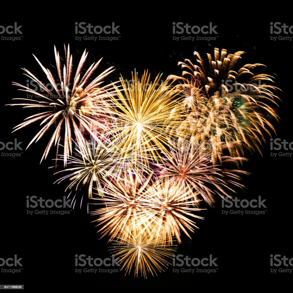 heart shape fireworks stock photo