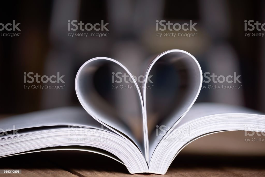 Heart shape from book pages. stock photo