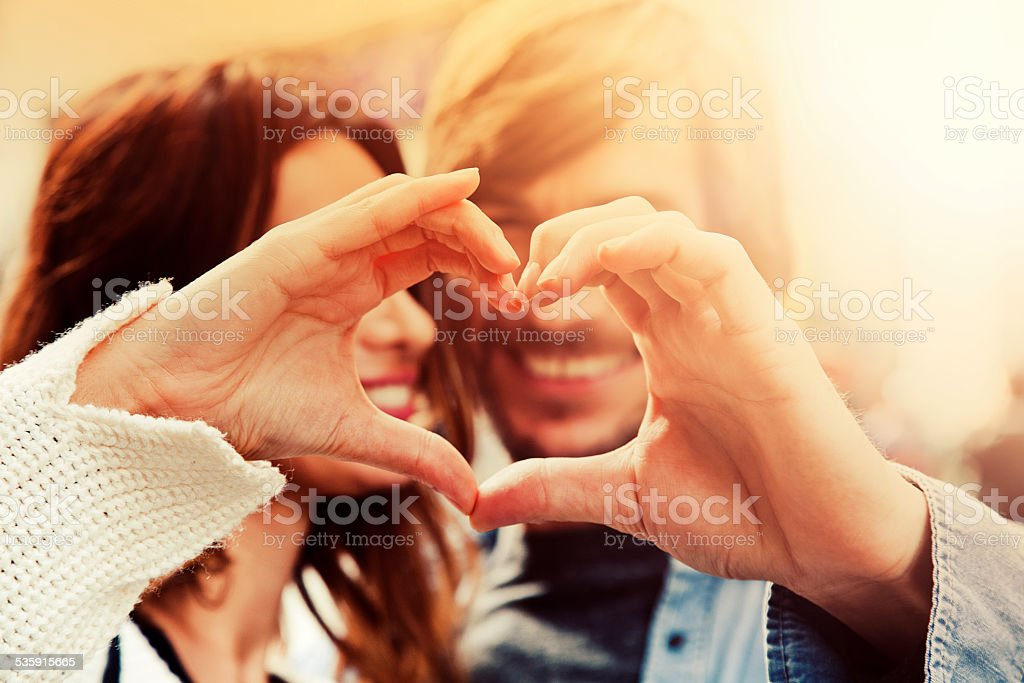 Heart shape from couple hands, Istanbul stock photo