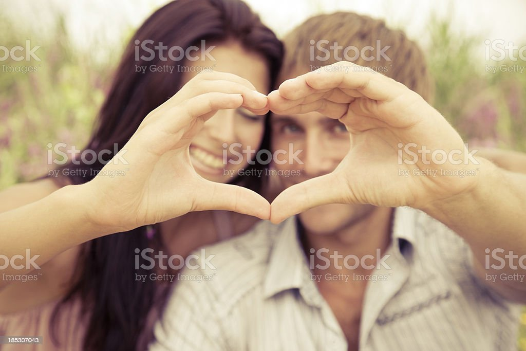heart shape from couple hands stock photo