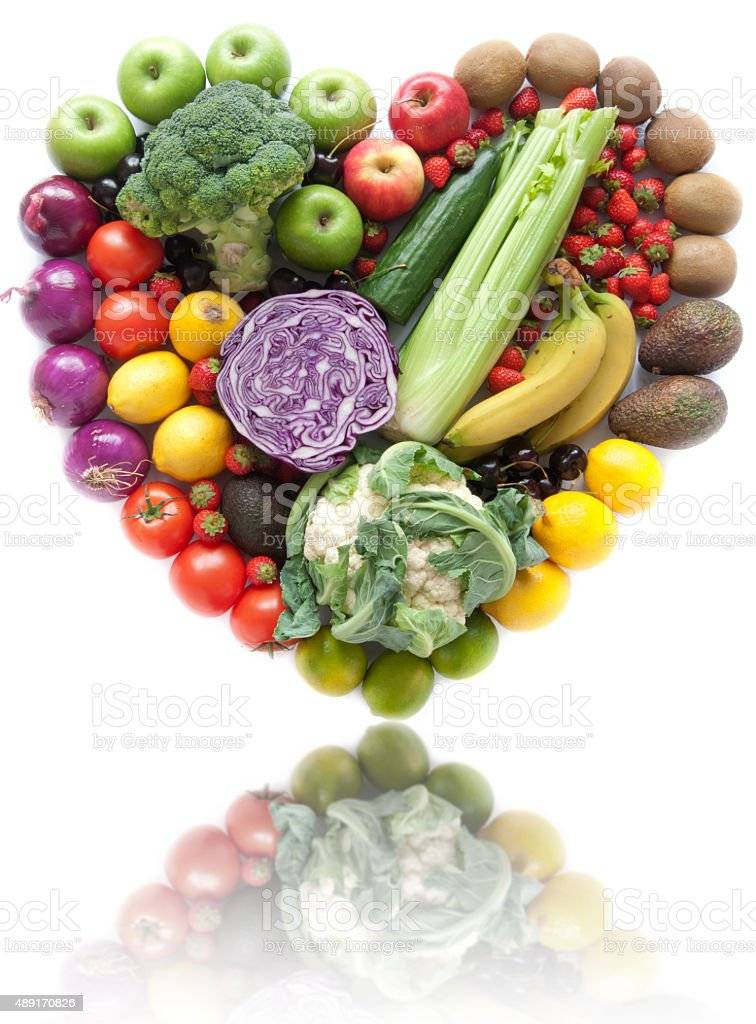 Heart shape fruit and vegetables stock photo